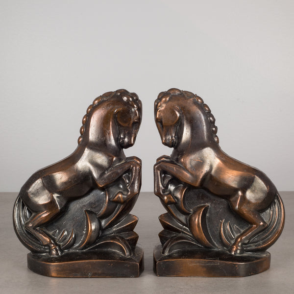 Art Deco Bronze-Plated Rearing Horse Bookends, c.1930
