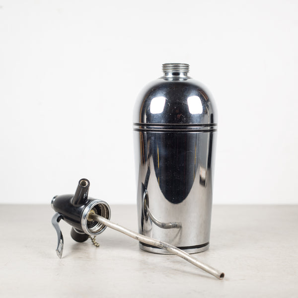 Art Deco Chrome and Black Seltzer Bottle c.1930