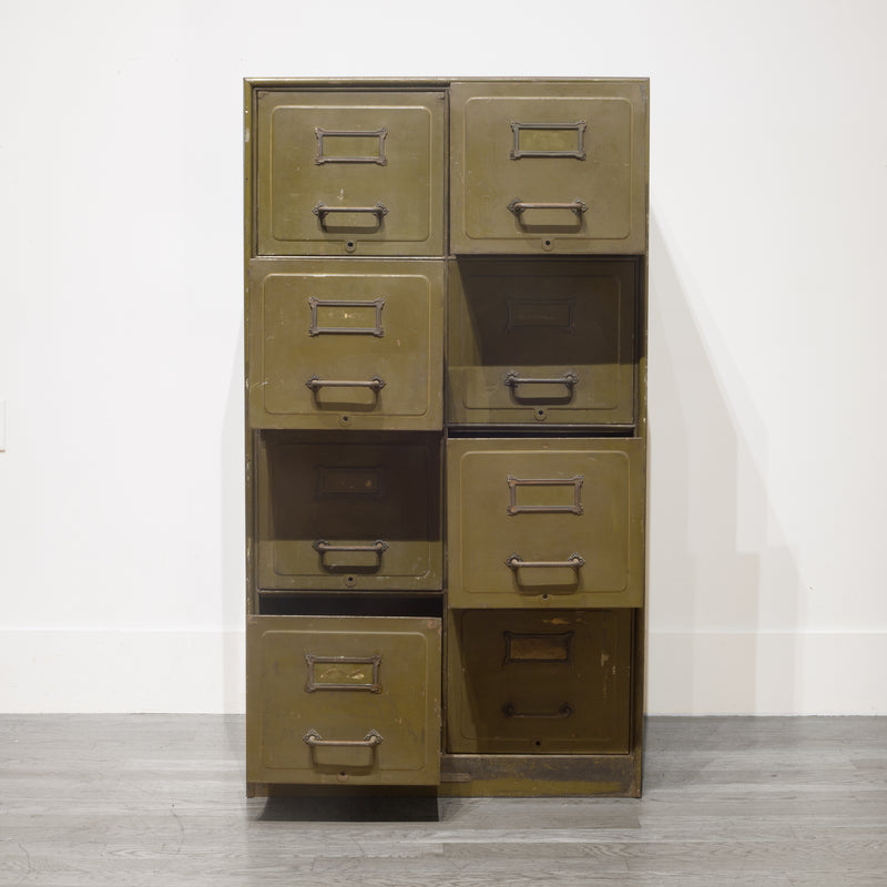 Army Green Steel Double File Cabinet c.1940