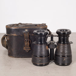 Leather Wrapped Audubon Paris Binoculars and Case c.1880s