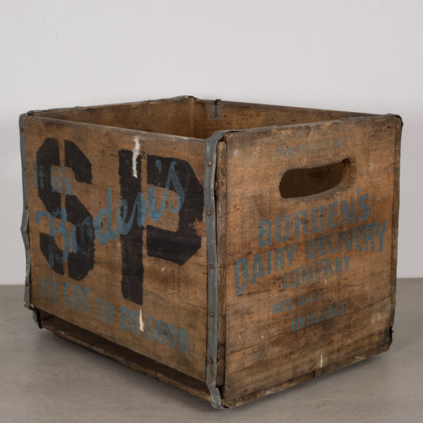 Bordon Dairy Wood and Metal Milk Crate c.1940