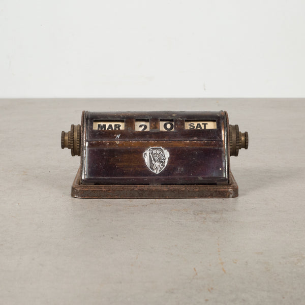 Antique Brass Park Sherman Perpetual Desk Calendar c.1920