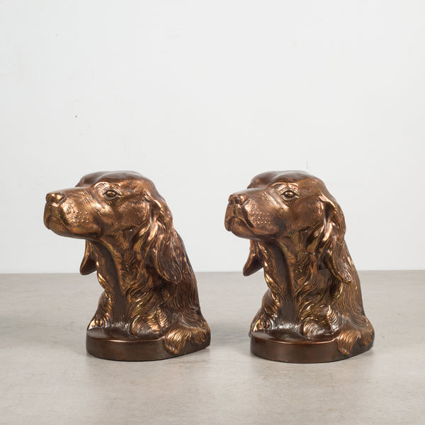 Bronze Plated Dog Bookends c.1940