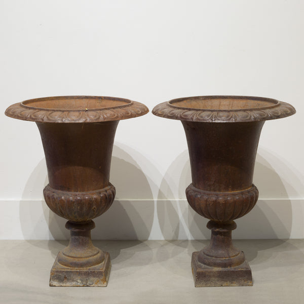 Pair of Early 20th c. Cast Iron Urns