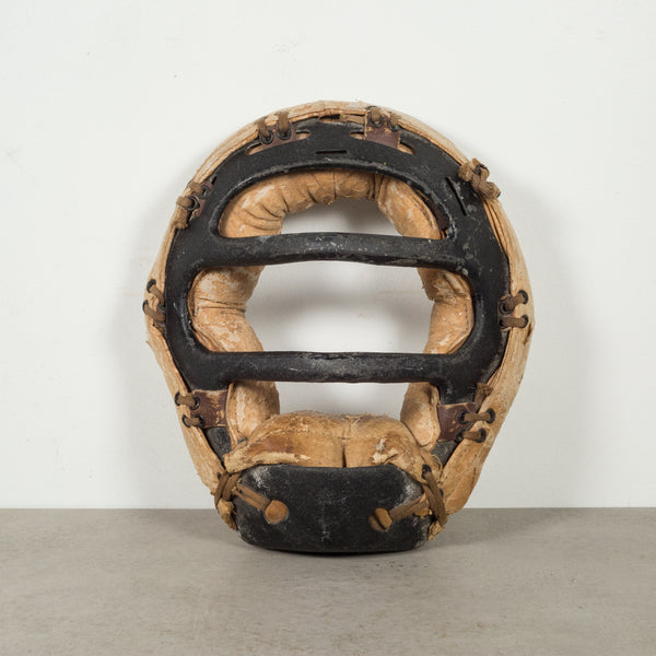 Distressed Metal and Leather Catcher's Mask c.1920