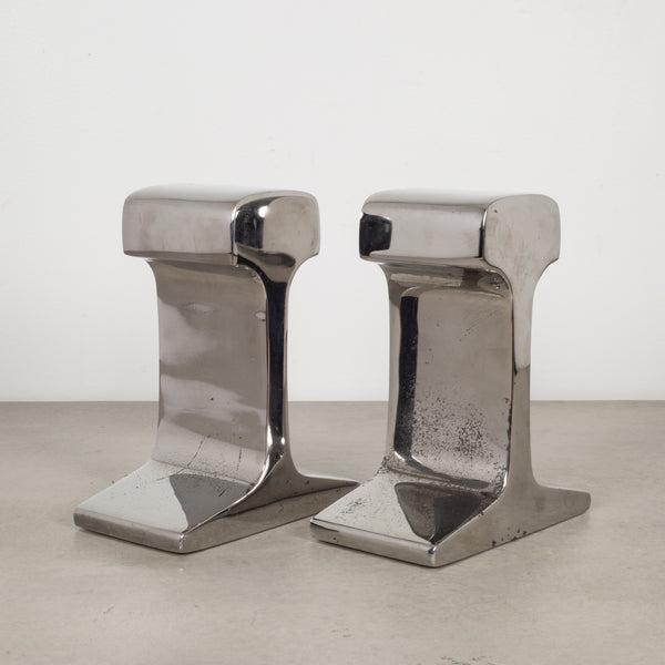 Mid-century Chromed Steel Railroad Tie Bookends c.1960