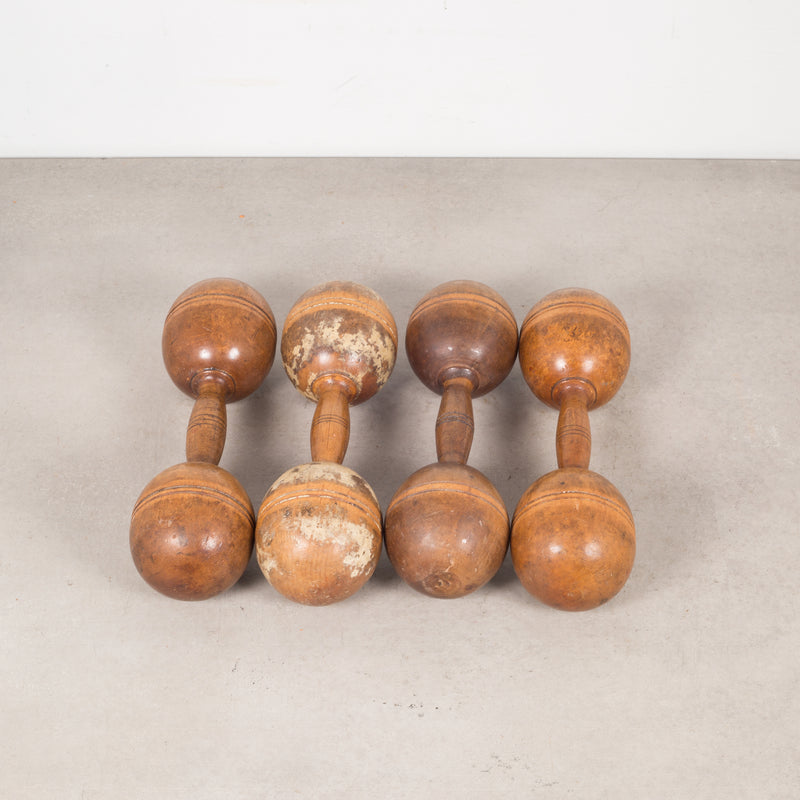 Collection of Antique Wooden Excercise Barbells s c.1900