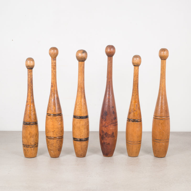 Collection of Turn of the Century Wooden Excercise/Juggling Pins c.1900-Price is per piece