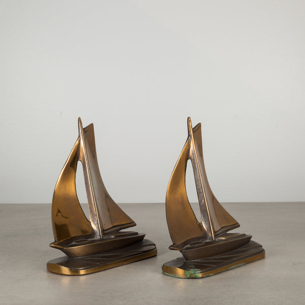 Copper and Bronze Sailboat Bookends c.1930