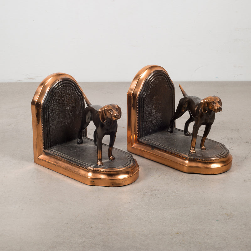 Copper Plated Pointer Dog Bookends c.1940