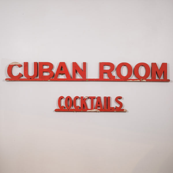Cuban Room Cocktails San Francisco Club Sign c.1920