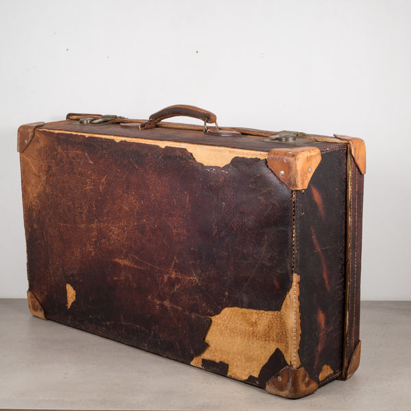 Distressed Leather Suitcase with Brass Locks c.1940