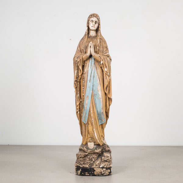 Early 20th c. French Virgin Mary Plaster Statue c.1940