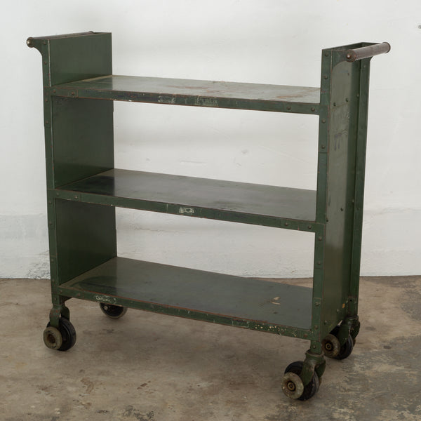 Early 20th c. Industrial Rolling Library Cart c.1900-1930