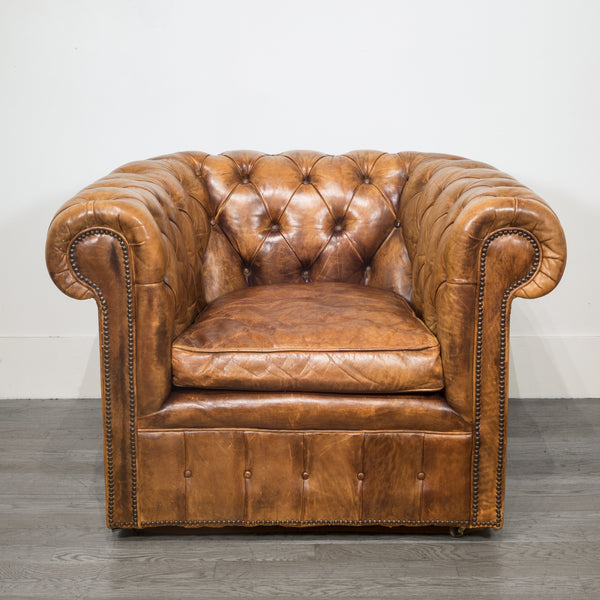 Mid-century Tufted Leather Chesterfield Club Chair c.1950-1970