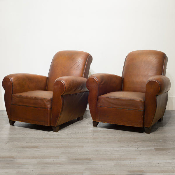 French Rollback Sheep Hide Club Chairs c.1940
