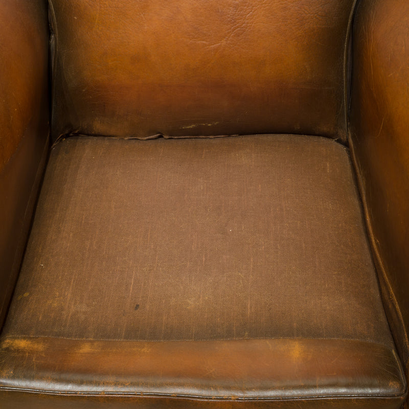 "French ""Cinema"" Sheep Hide Club Chairs c.1940"