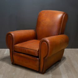 Early 20th c. French Rollback Sheep Hide Club Chair c.1940
