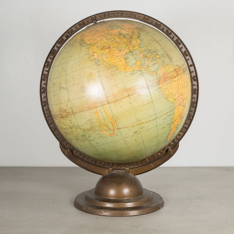 Art Deco Cram's Terrestrial World Globe c.1920