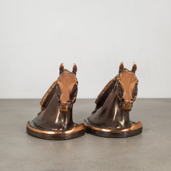 Copper/Bronze Plated Horse Head Bookends by Gladys Brown and Dodge c.1940s