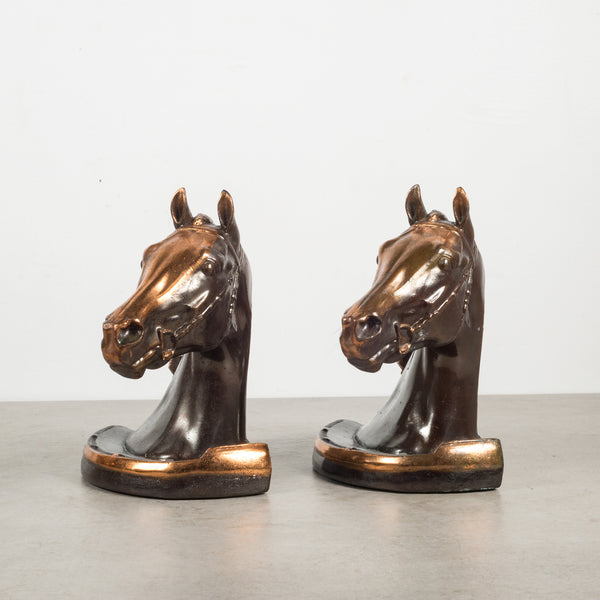 Copper and Bronze Plated Horse Head Bookends by Gladys Brown for Dodge Inc.1946