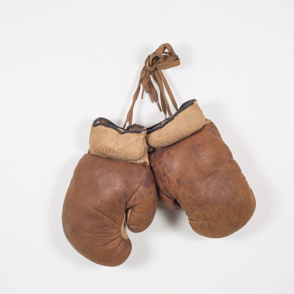 Antique Leather and Horse Hair Children's Boxing Gloves by Yale c.1920