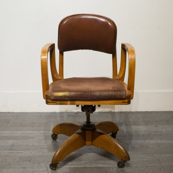 Adjustable Gunlocke Oak Swivel Desk Chair c.1940