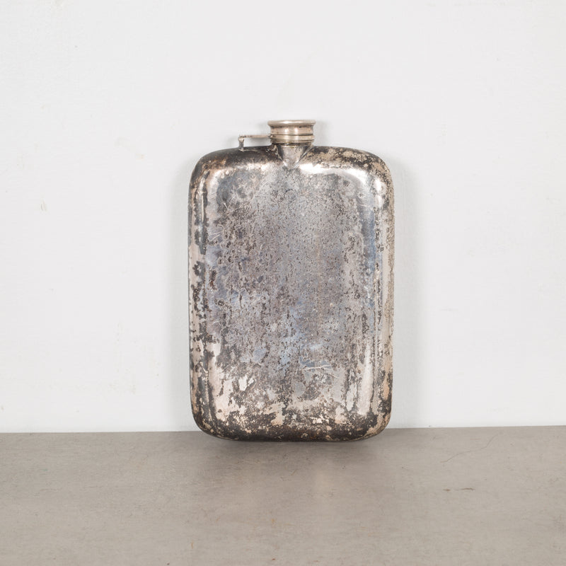 Antique Oversized Silver Plated Monogrammed Flask c.1920