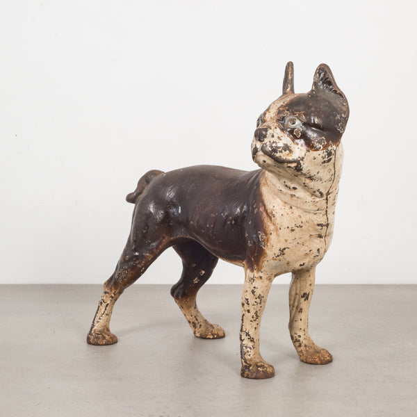 Antique Cast Iron Boston Terrier Doorstop by Hubley c.1910