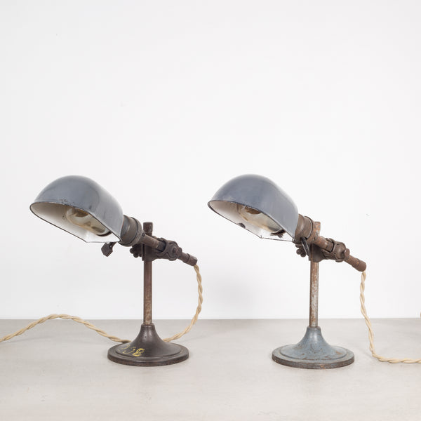 Pair of Industrial Task Lamps with Porcelain Shades c.1930