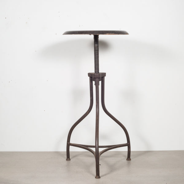 Depression Era Adjustable Three Legged Swivel Factory Counter Height Stool c.1930