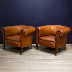 Pair of Sheep Hide French Round Club Chairs c.1940