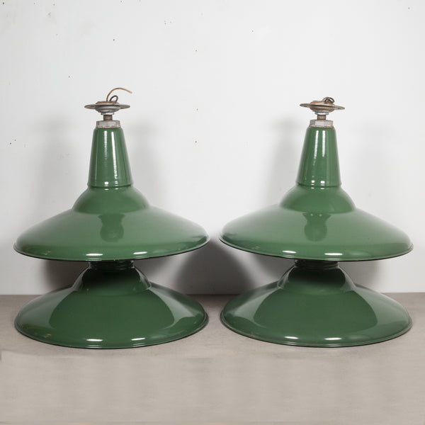 Depression Era Large Porcelain and Enameled Swivel Pendant Shades c.1920