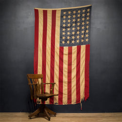 Early 20th c. Distressed Large American Flag with 48 Stars c. pre 1940s