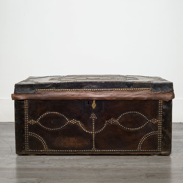 English Studded Leather and Oak Document Chest c.1800s