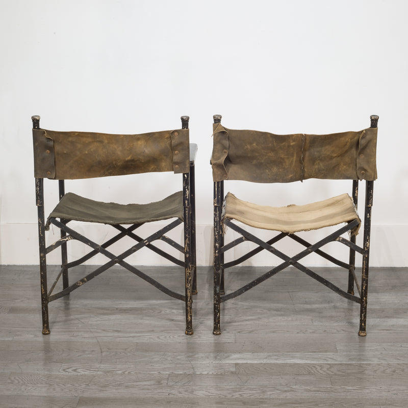 Distressed Miltary Folding Director's Chairs c.1940