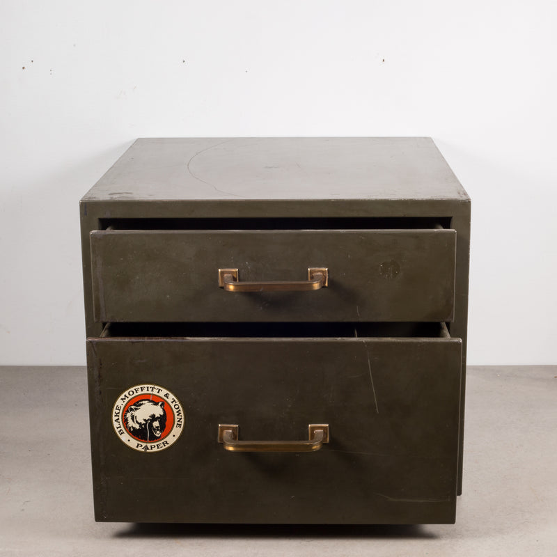 Industrial Factory Two Drawer Cabinet with Brass Pulls c.1940