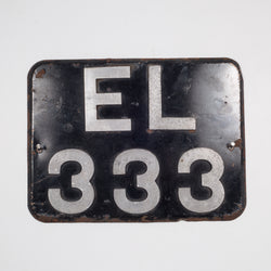 Vintage Square Metal License Plate c.1930