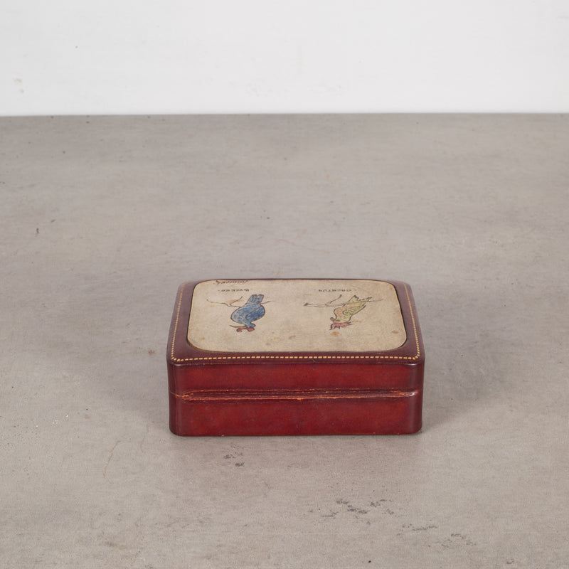Mid-century Italian All Leather Box with Bird Portraits c.1960