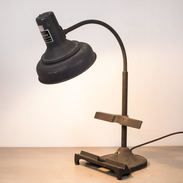 Industrial Cast Iron Goose Neck Laboratory Task Lamp c.1950