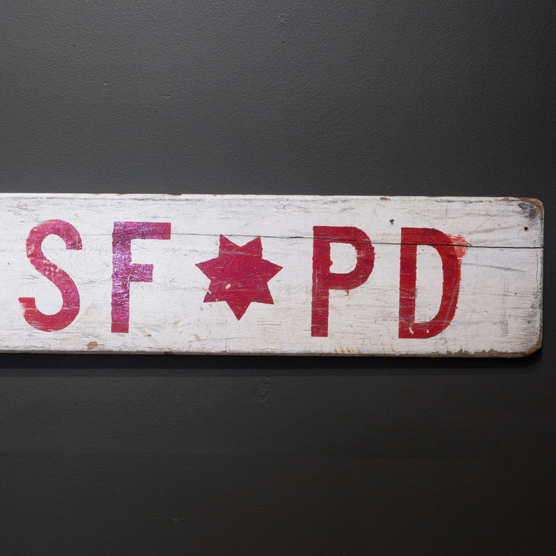 Hand Painted Double Sided SFPD Sign c.1950