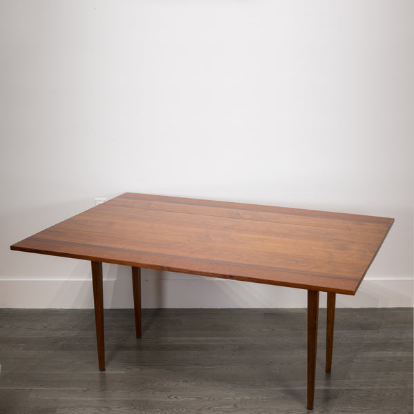 Midcentury Hibretin Walnut, Mahogany, Rosewood Drop-Leaf Dining Table or Console, c.1960