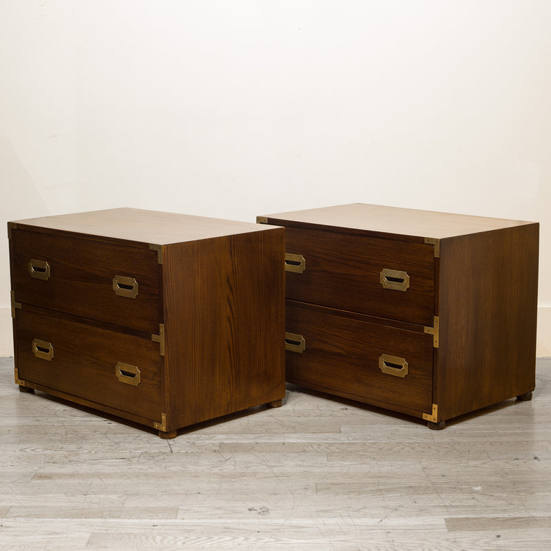 Oak and Brass Campaign Chest Nightstand Dresser C.1960