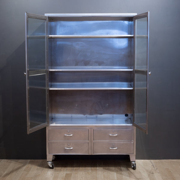 Monumental Mid-century Stainless Steel Medical Cabinet c.1950