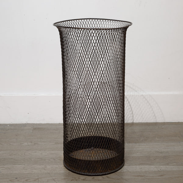 Tall Steel Mesh Waste Basket c.1920