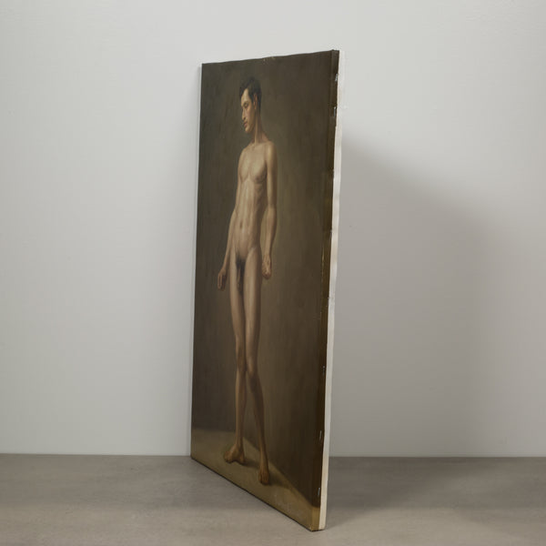 Oil on Canvas Nude Portrait of Standing Male by Richard Biset c.1980