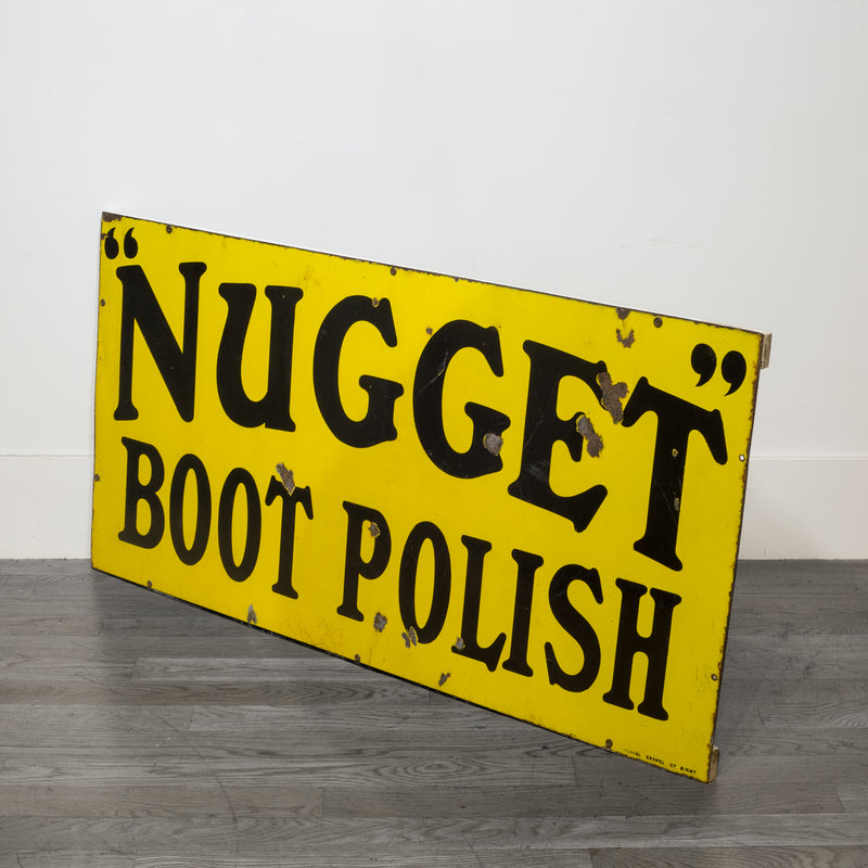 Enameled Nugget Boot Polish Sign c.1920-1950
