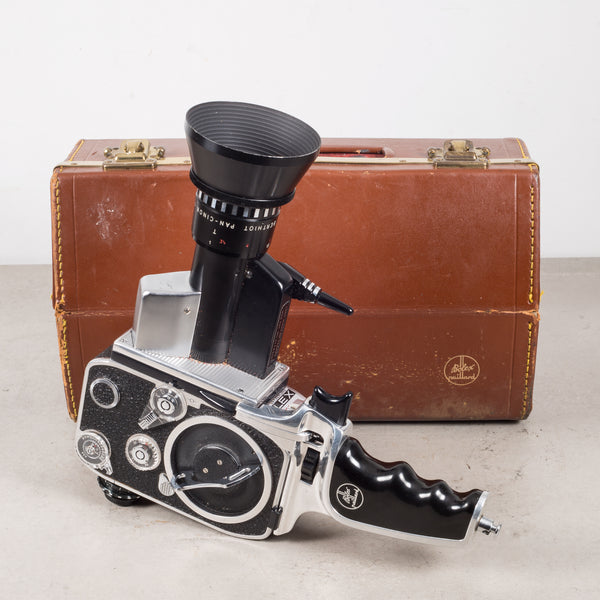 Bolex Zoom Reflex P1 8mm Movie Camera and Leather Case c.1961