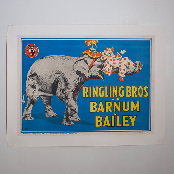 Early 20th c. Ringling Brothers Circus Poster c.1945