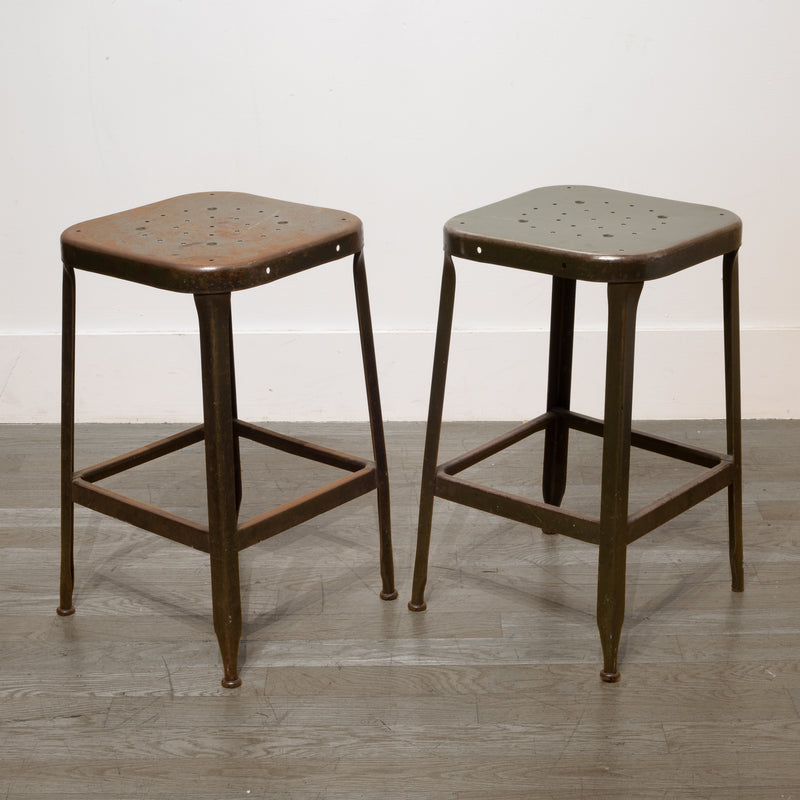 Pressed and Folded Steel Factory Stools c.1950